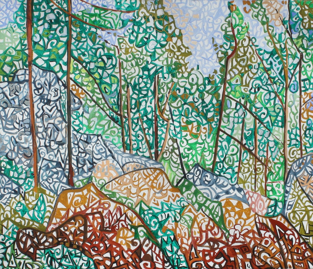 """Painting """"According to Cezanne """"Interieur de forêt"""""""", painted by Elena Birkenwald in 2003"""