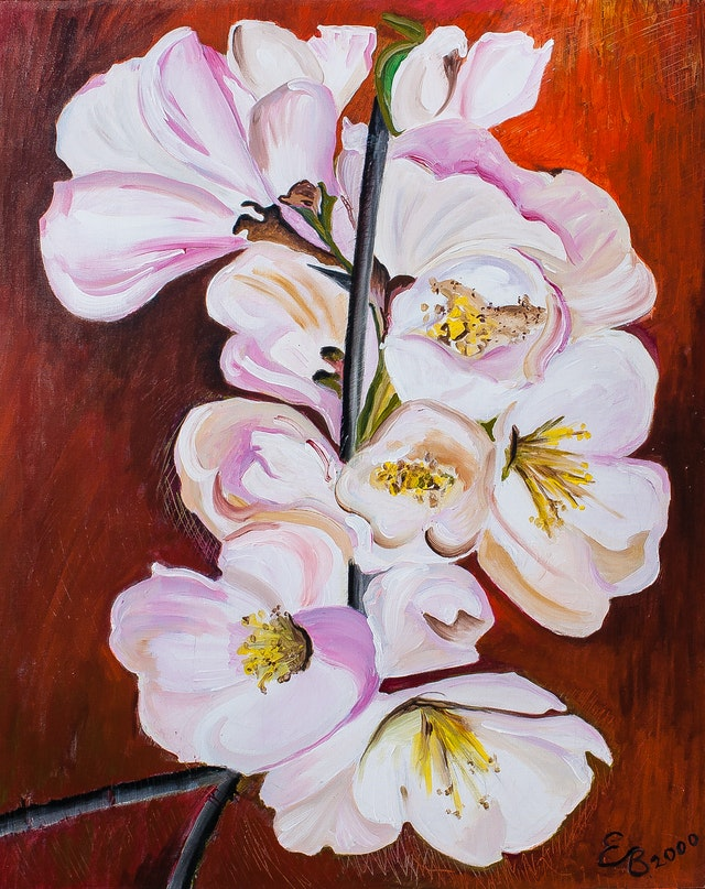 """Painting """"Apple Blossom"""", painted by Elena Birkenwald in 2000"""