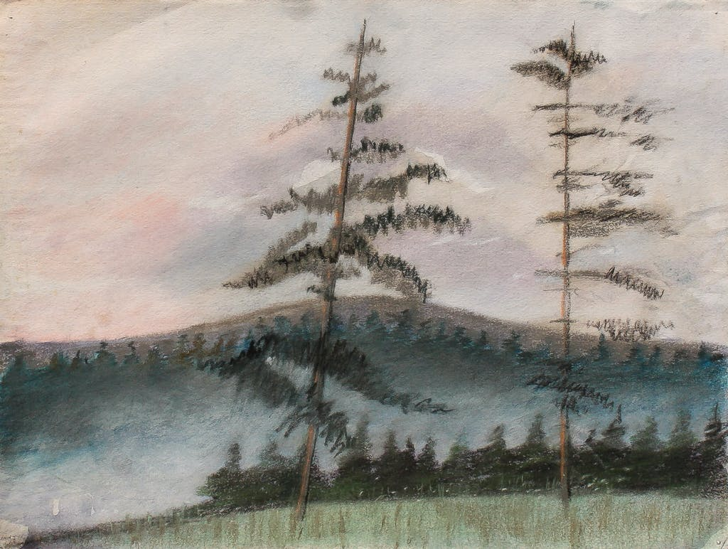 """Painting """"At the edge of the woods"""", painted by Elena Birkenwald in 2002"""