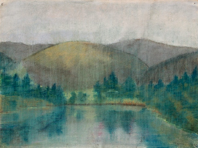 """Painting """"At the lake"""", painted by Elena Birkenwald in 2002"""