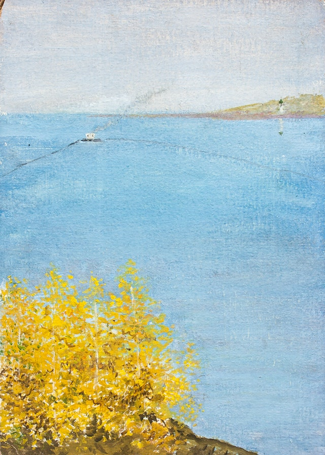"""Painting """"At the Volga"""", painted by Elena Birkenwald in 1983"""