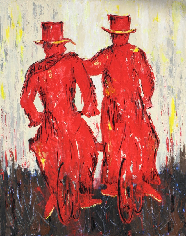 """Painting """"Bicycle Riders"""", painted by Elena Birkenwald in 2007"""