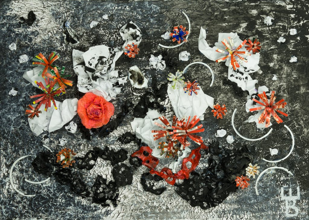 """Painting """"Bloody corona bouquet"""", painted by Elena Birkenwald in 2020"""