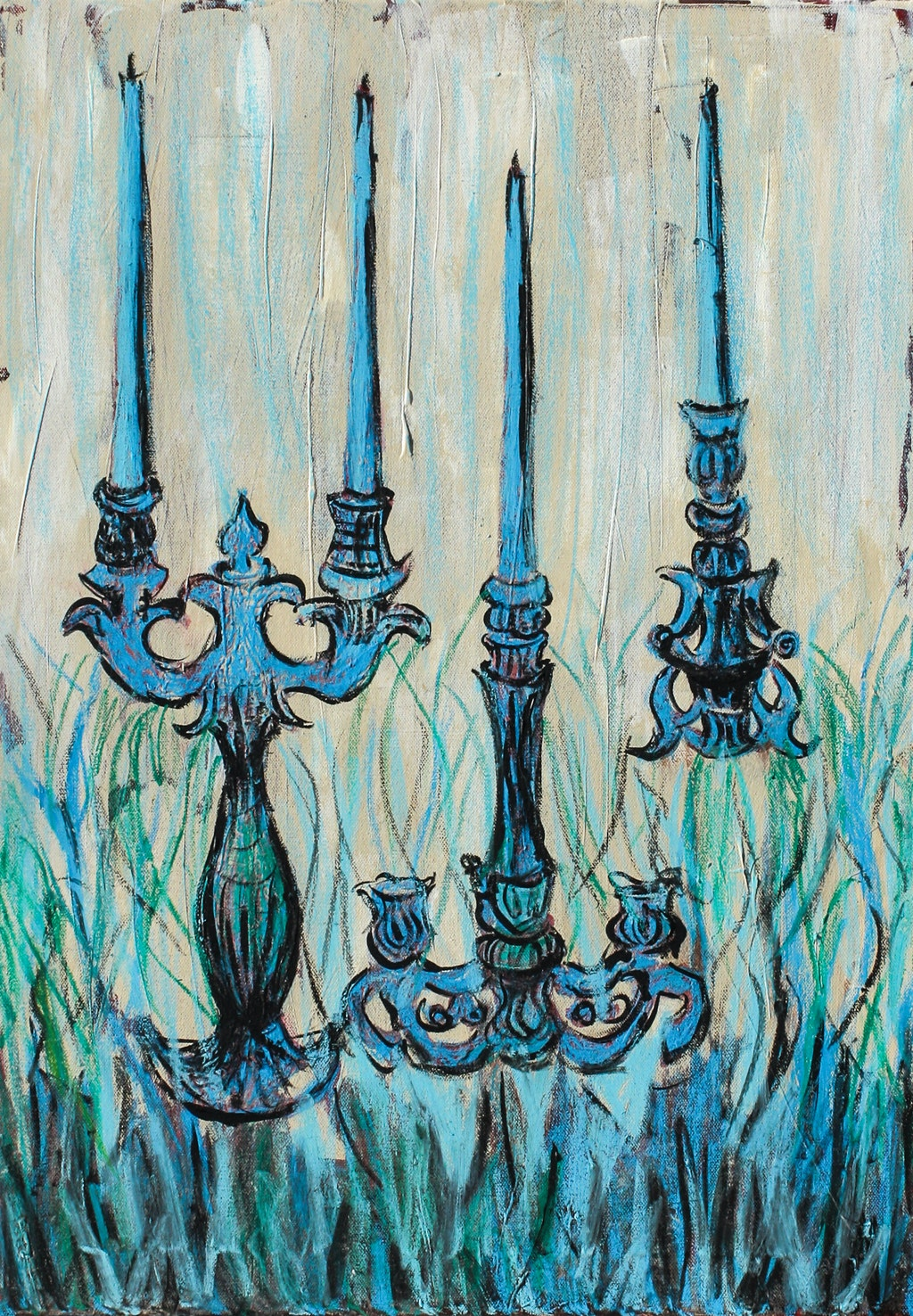 """Painting """"Blue candleholder"""", painted by Elena Birkenwald in 2010"""