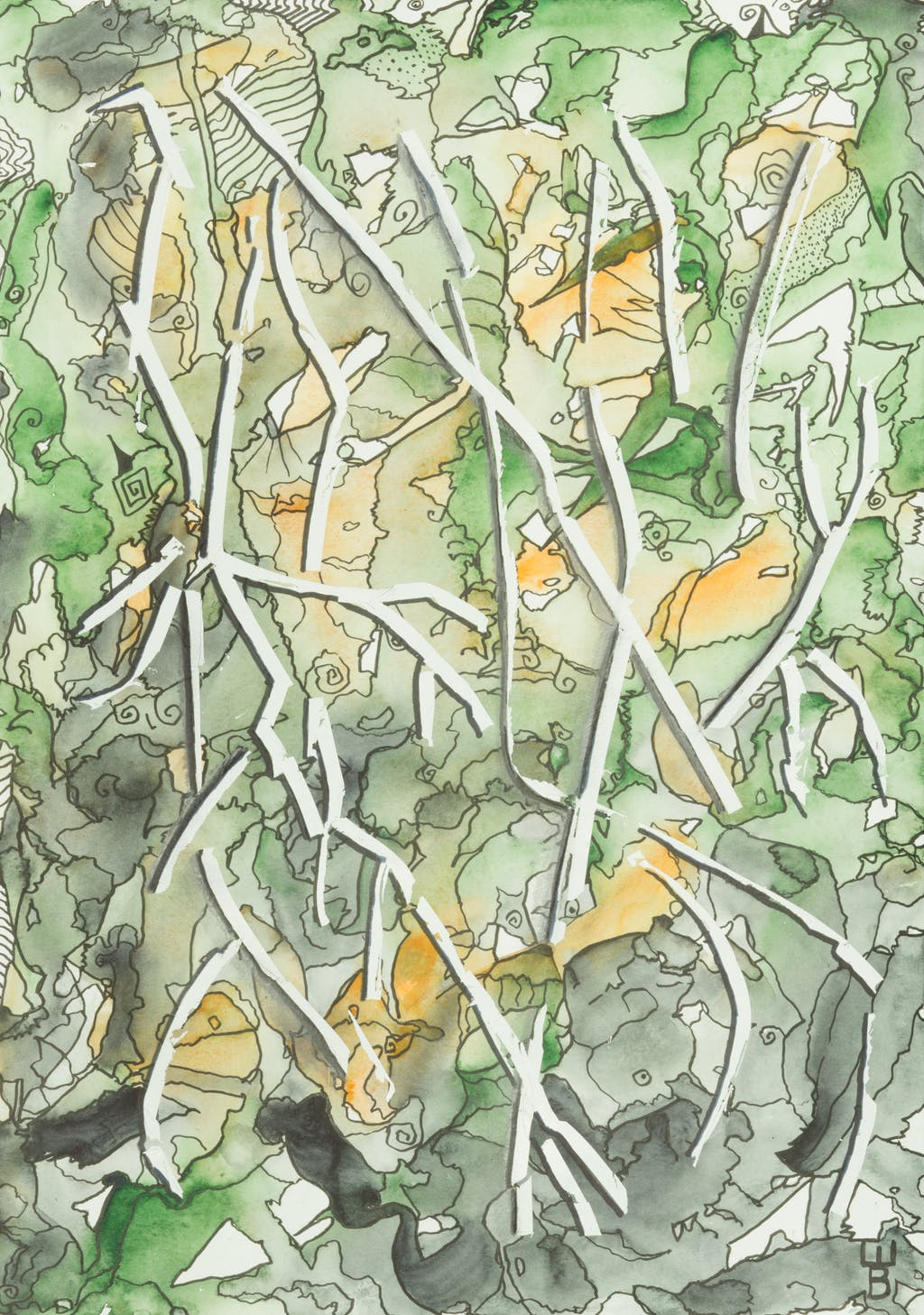 """Painting """"Branches"""", painted by Elena Birkenwald in 2020"""