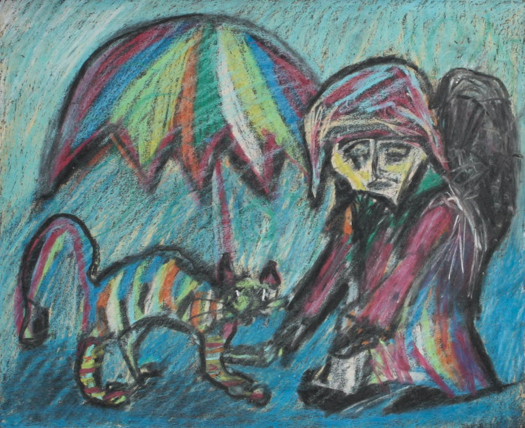 "Painting ""Cat and wanderer"", painted by Elena Birkenwald in 2001"