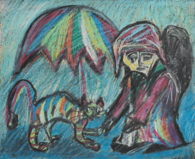 """Painting """"Cat and wanderer"""", painted by Elena Birkenwald in 2001"""