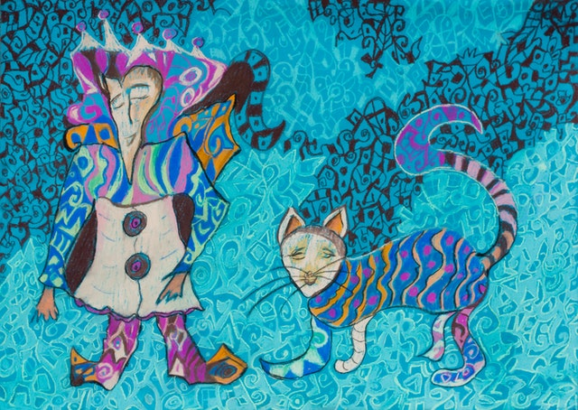 "Painting ""Cat and wanderer"", painted by Elena Birkenwald in 2007"