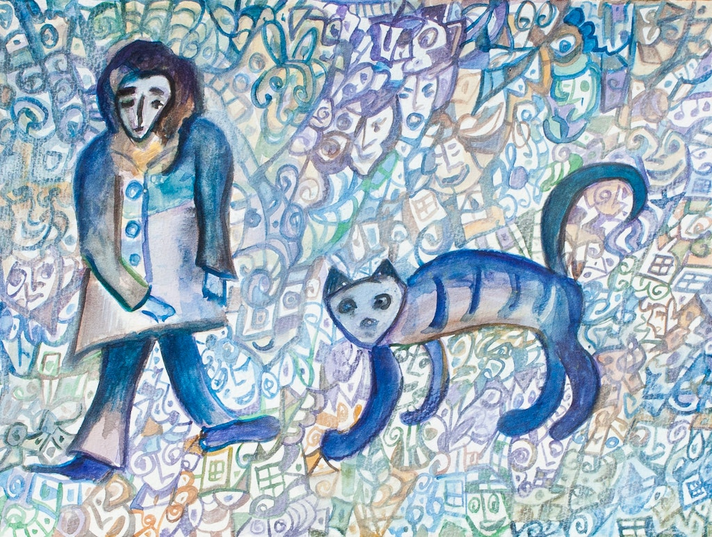 """Painting """"Cat and wanderer"""", painted by Elena Birkenwald in 2007"""