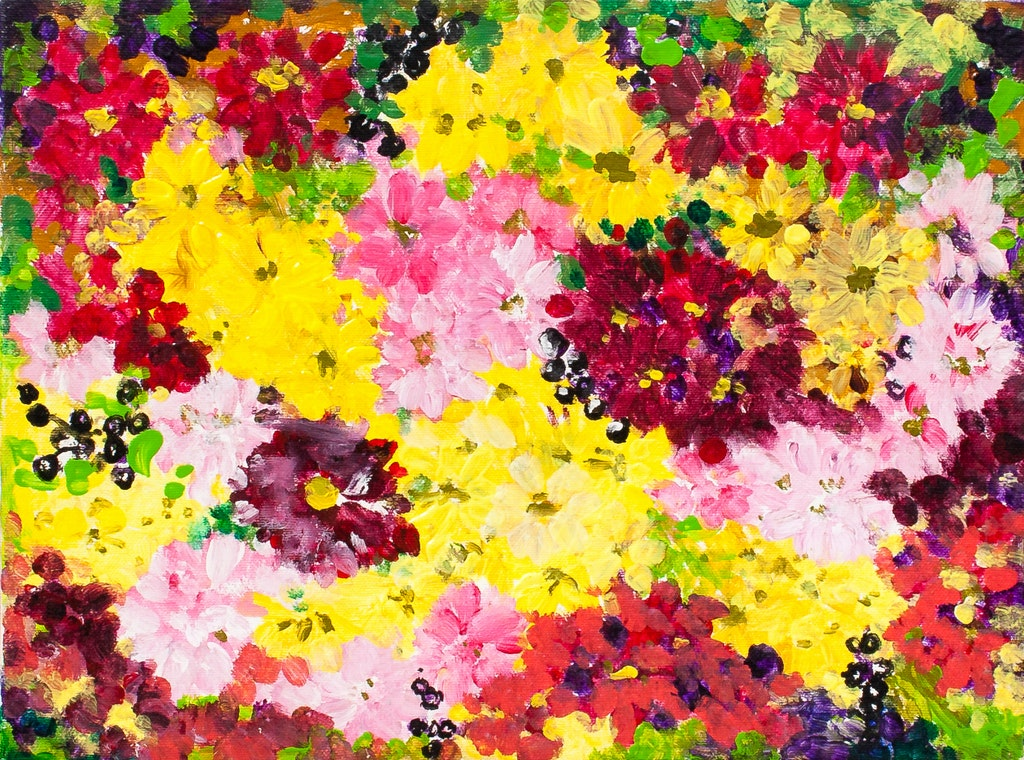 "Painting ""Chrysanthemums"", painted by Elena Birkenwald in 2000"