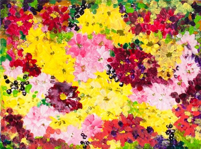 "Painting ""Chrysanthemums"", painted by Elena Birkenwald in 2000"