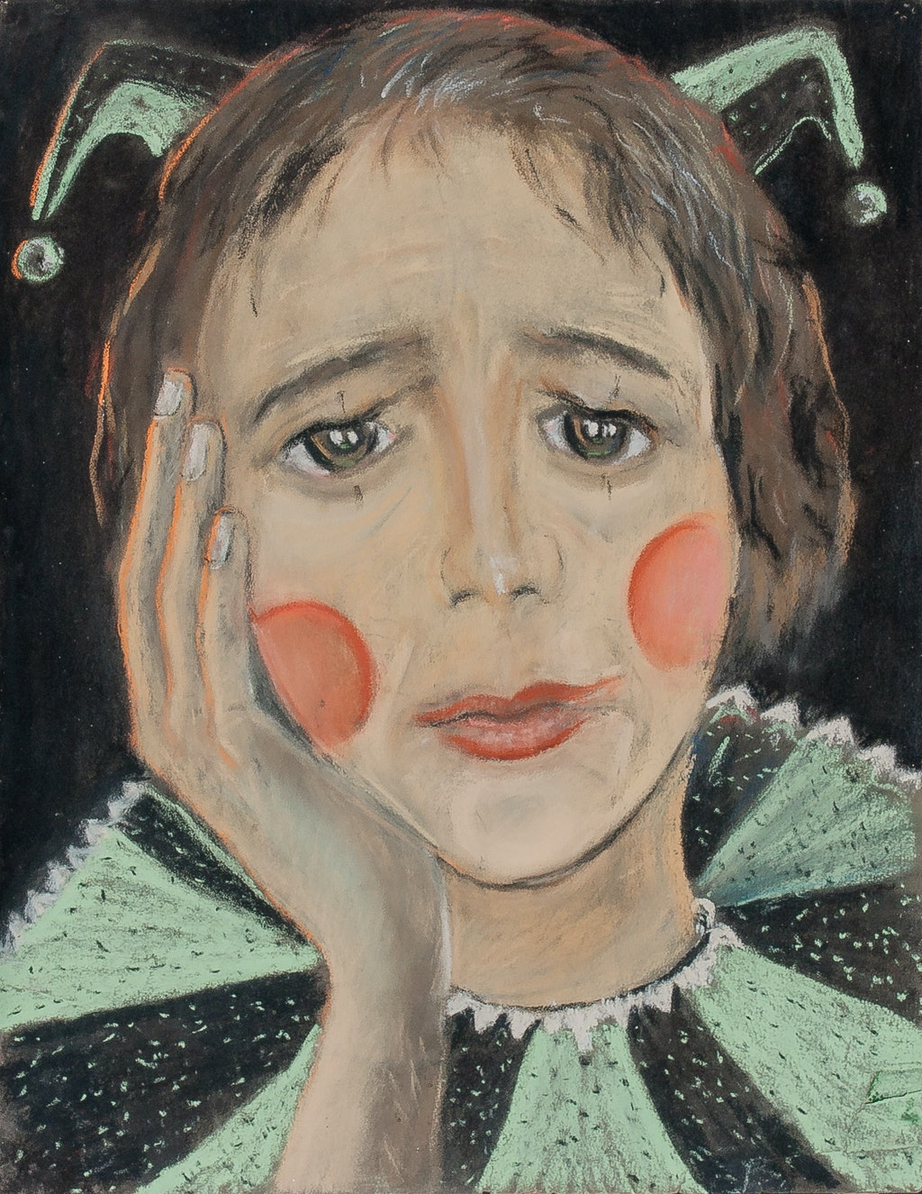 """Painting """"Clown"""", painted by Elena Birkenwald in 1983"""