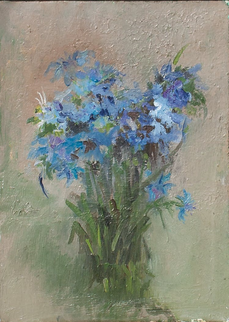 "Painting ""Cornflowers"", painted by Elena Birkenwald in 1983"