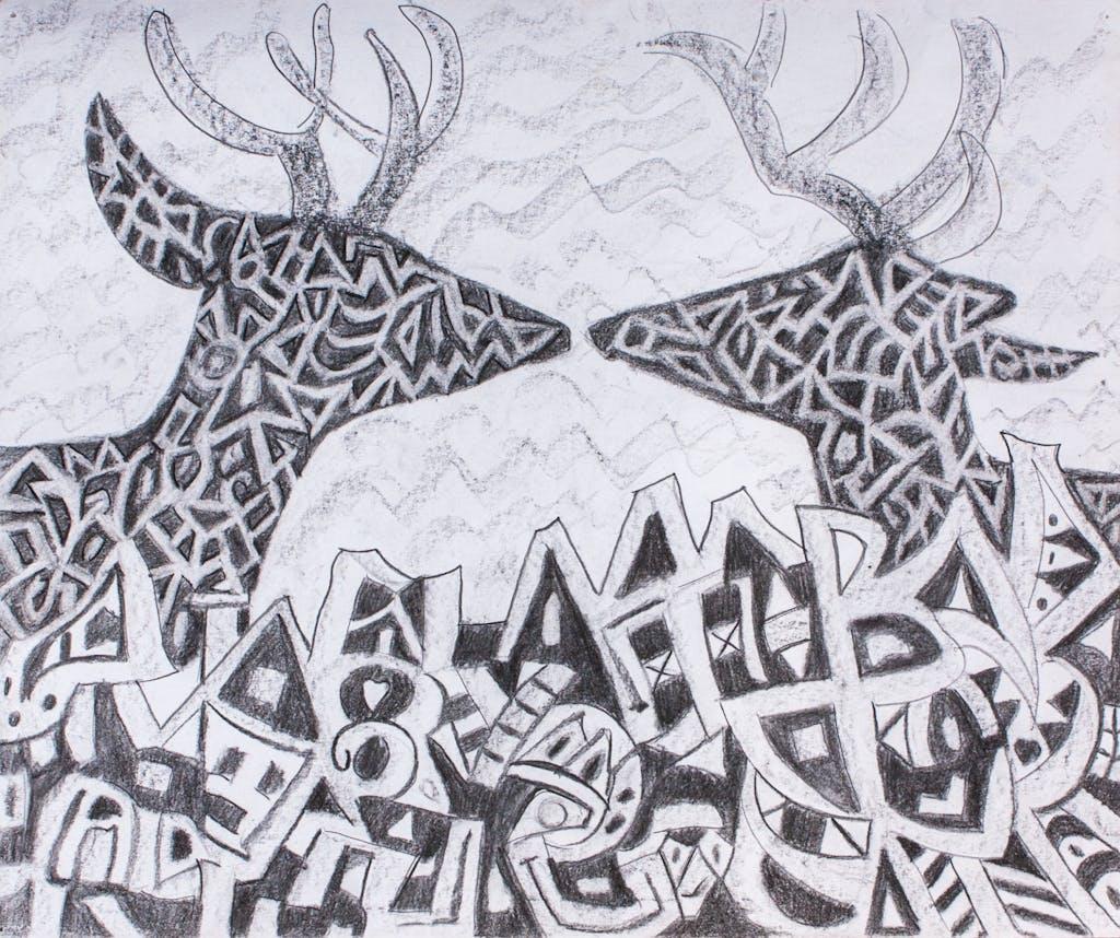 """Painting """"Deers"""", painted by Elena Birkenwald in 2002"""