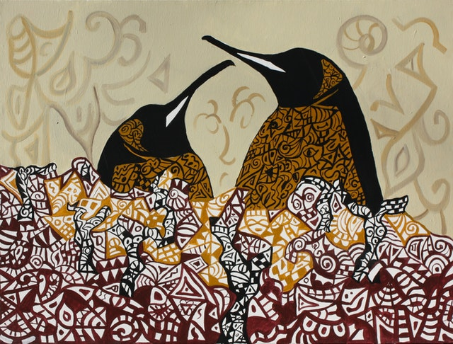 "Painting ""Discussion"", painted by Elena Birkenwald in 2002"