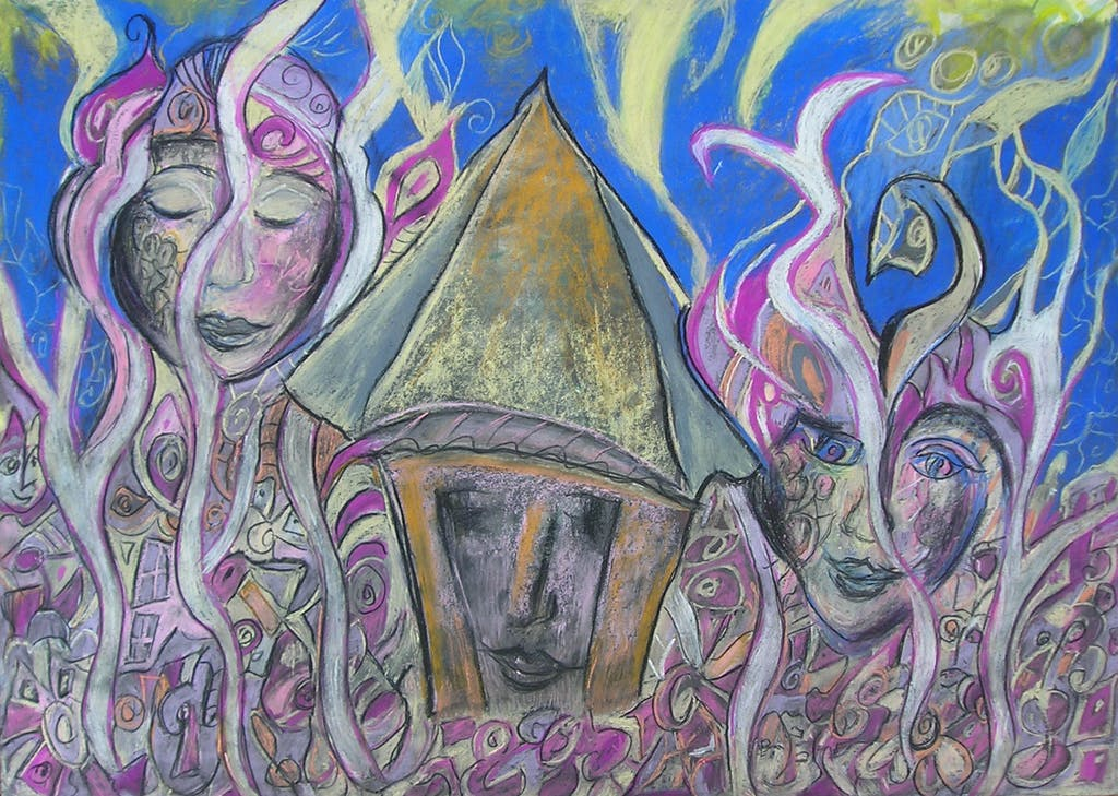 "Painting ""Fairy tale trip"", painted by Elena Birkenwald in 2009"