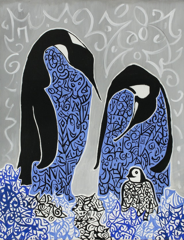 """Painting """"Family"""", painted by Elena Birkenwald in 2003"""