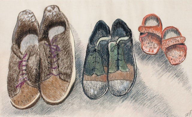 """Painting """"Family shoes"""", painted by Elena Birkenwald in 1993"""