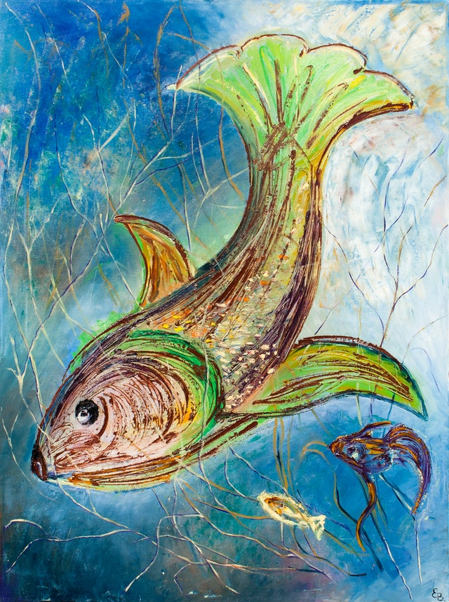 """Painting """"Fish"""", painted by Elena Birkenwald in 1998"""