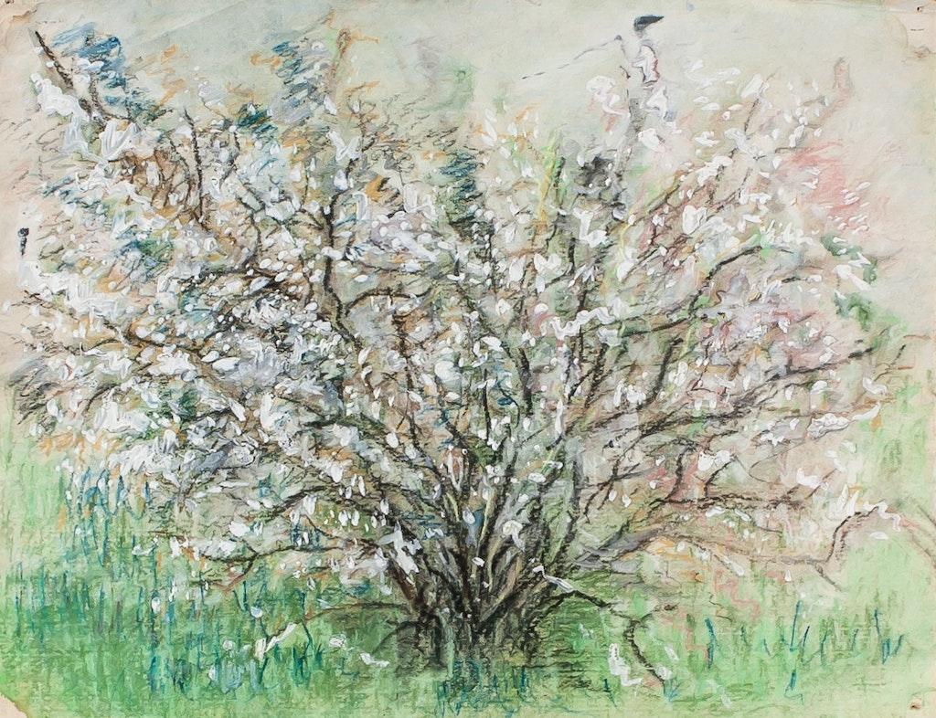 """Painting """"Flowering bush"""", painted by Elena Birkenwald in 1986"""