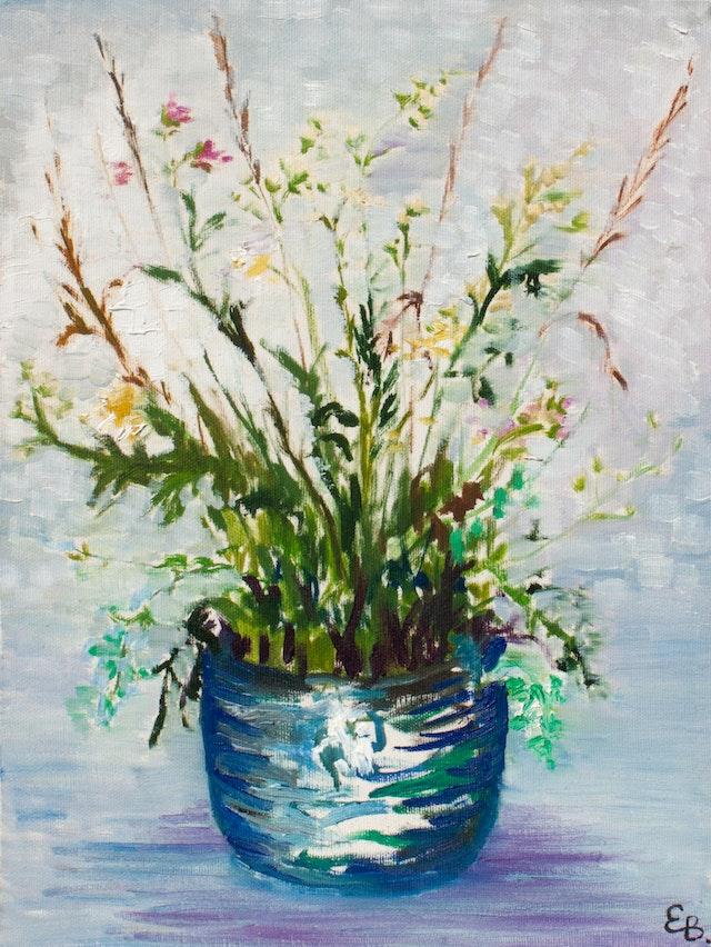 "Painting ""Flowerpot"", painted by Elena Birkenwald in 1996"