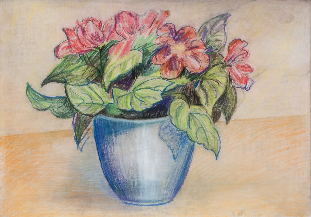 """Painting """"Flowers in blue pot"""", painted by Elena Birkenwald in 2010"""