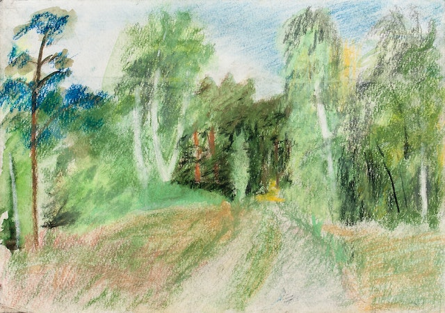 """Painting """"Forest track"""", painted by Elena Birkenwald in 1998"""