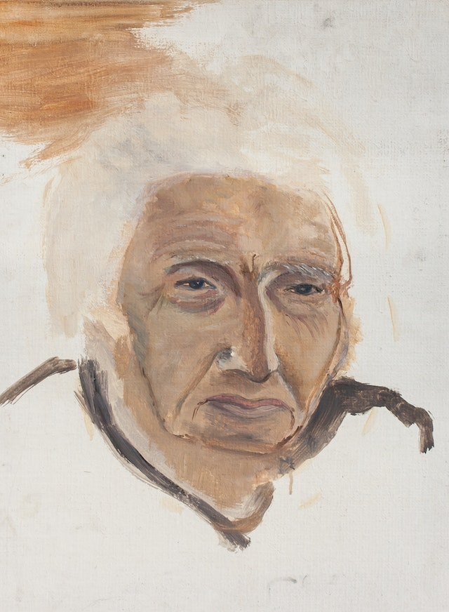 """Painting """"Grandmother"""", painted by Elena Birkenwald in 1985"""