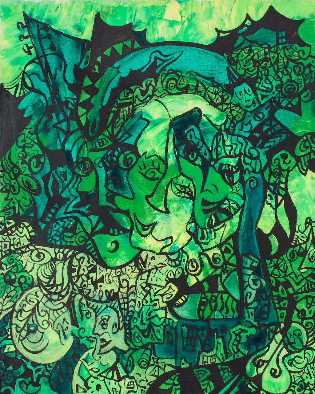 """Painting """"Green dream"""", painted by Elena Birkenwald in 2006"""