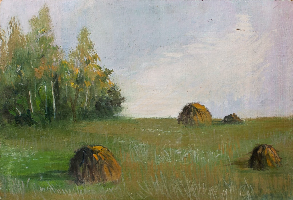 "Painting ""Haystacks"", painted by Elena Birkenwald in 1983"