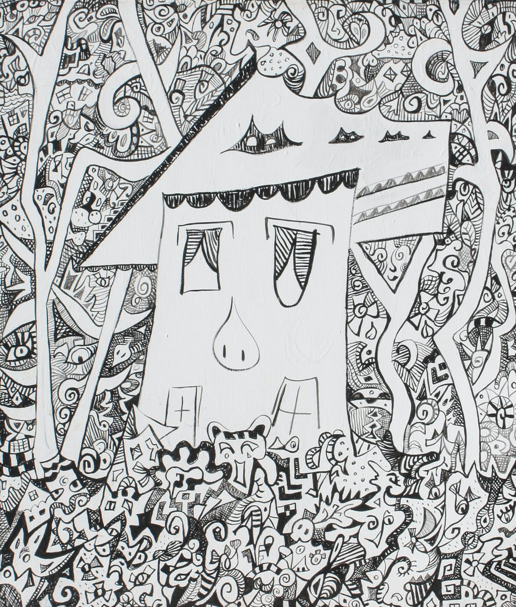 "Painting ""House in the woods"", painted by Elena Birkenwald in 2006"