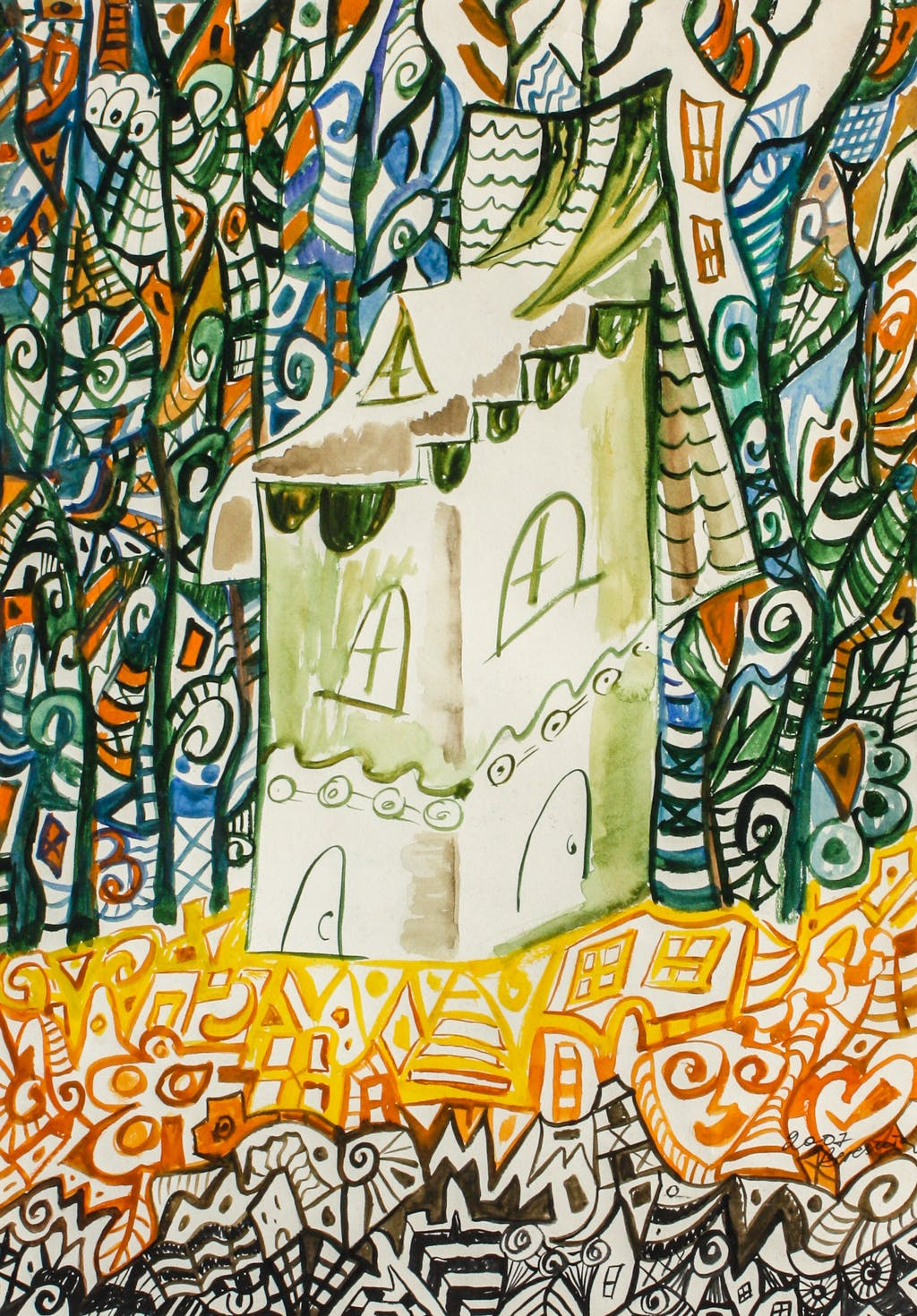 """Painting """"House, sleeping in forest"""", painted by Elena Birkenwald in 2007"""
