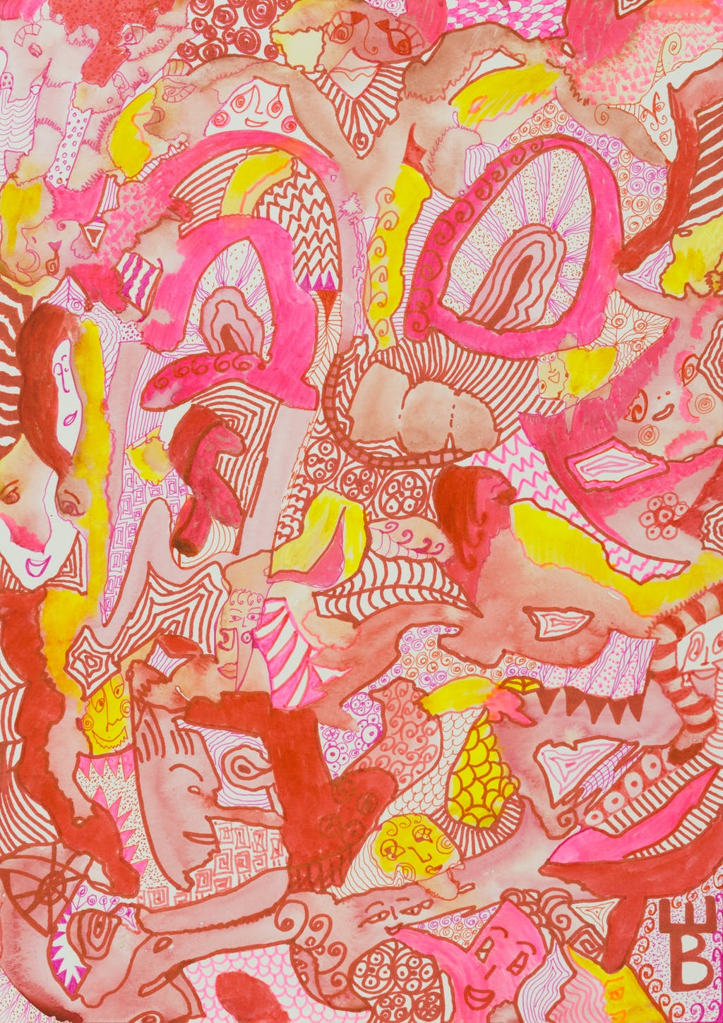 """Painting """"In pink"""", painted by Elena Birkenwald in 2020"""