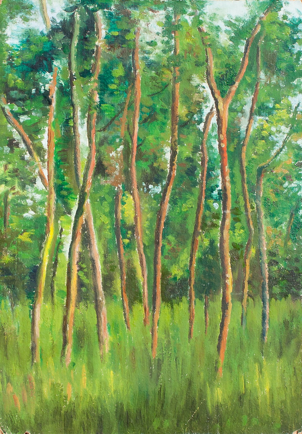 """Painting """"In the woods"""", painted by Elena Birkenwald in 1982"""