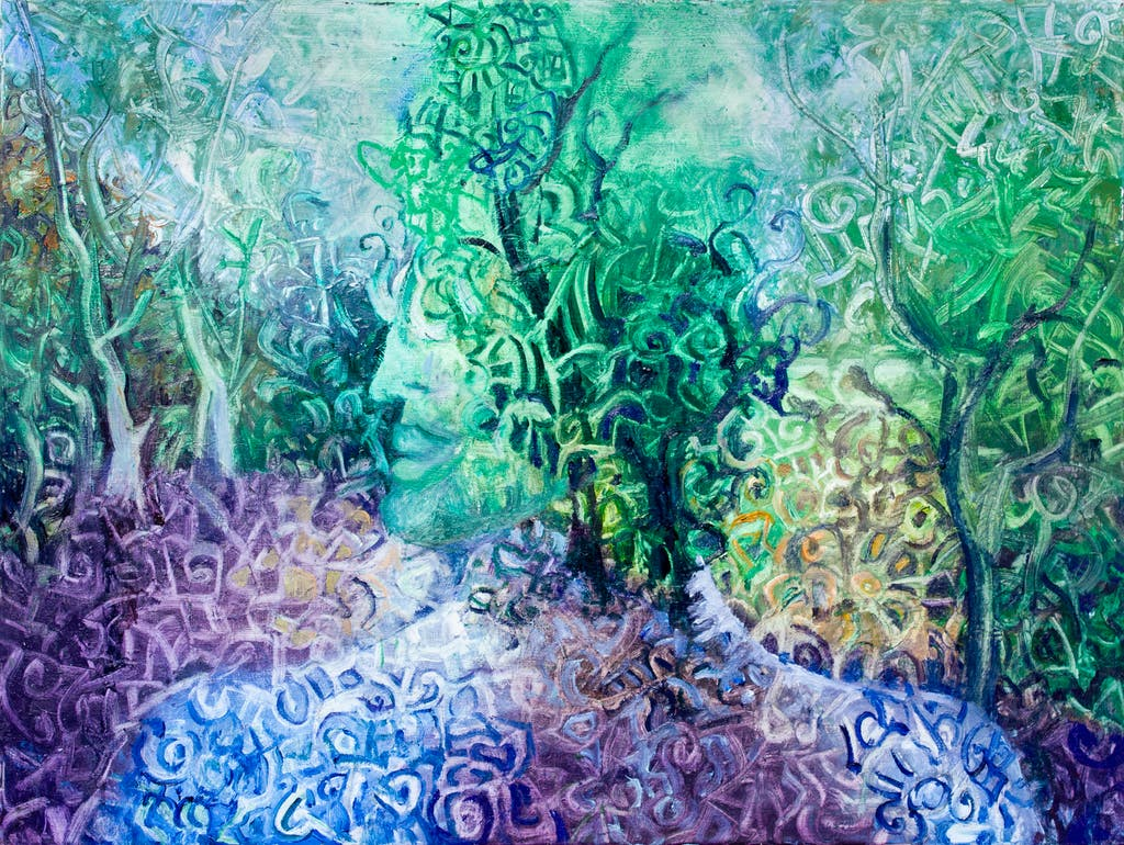 """Painting """"King of forest"""", painted by Elena Birkenwald in 2009"""