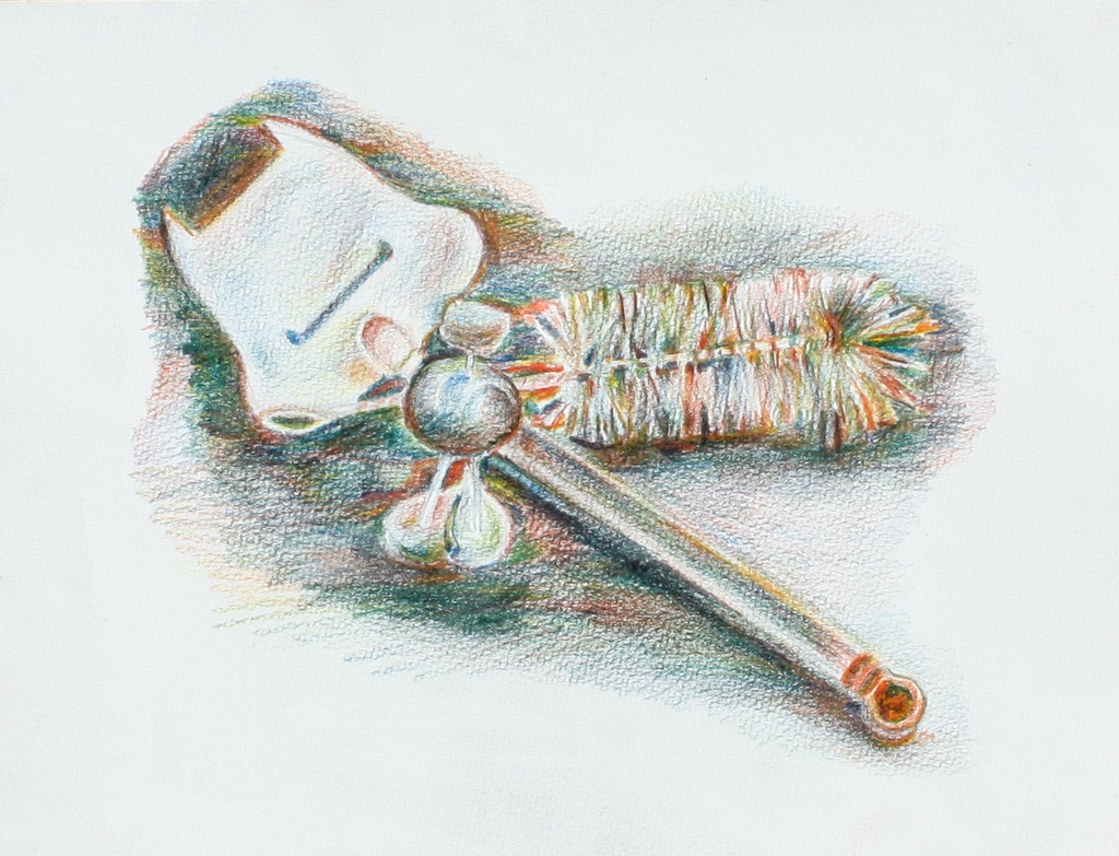 """Painting """"Kitchen accessories"""", painted by Elena Birkenwald in 2004"""