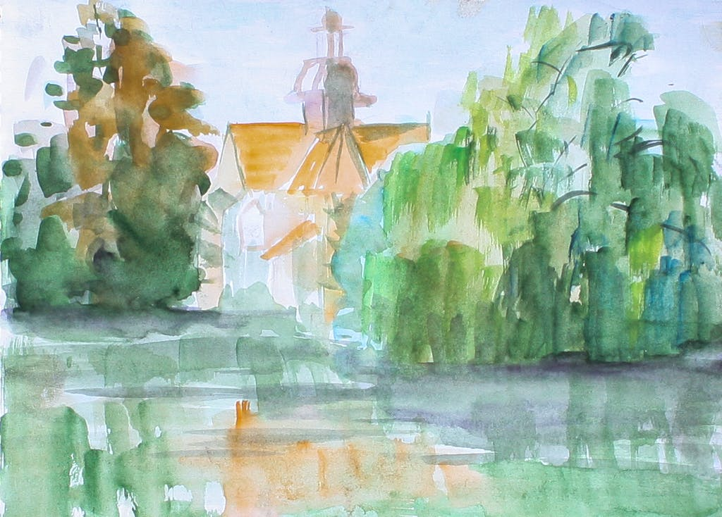 """Painting """"Marienrode Priory"""", painted by Elena Birkenwald in 2006"""