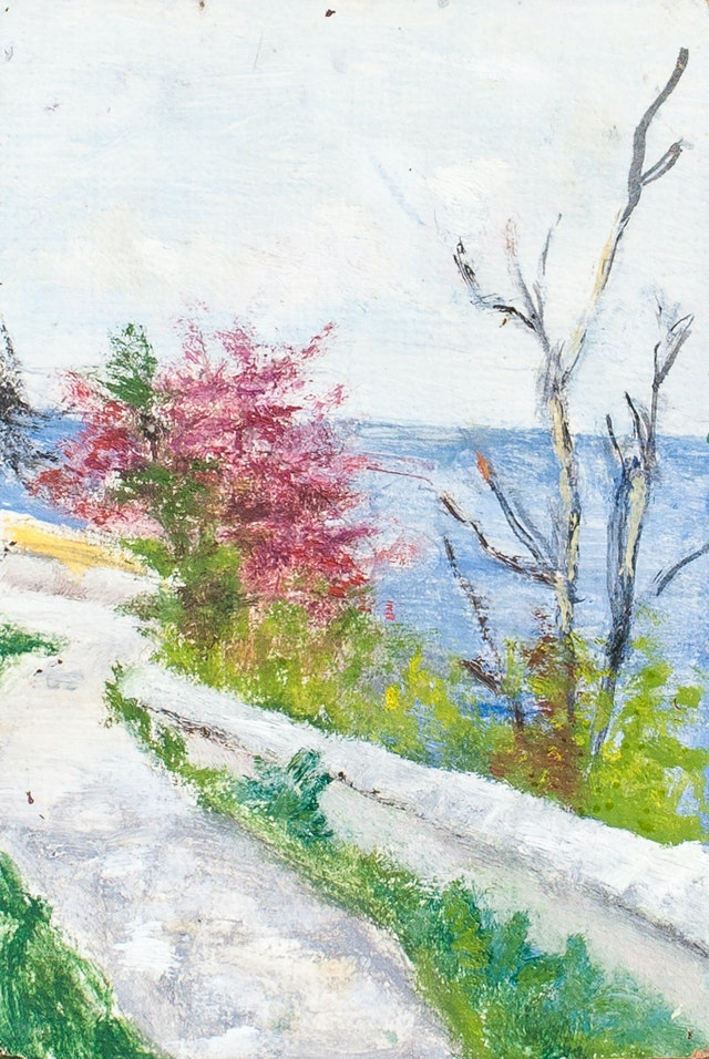 """Painting """"On slopes of Odessa"""", painted by Elena Birkenwald in 1985"""