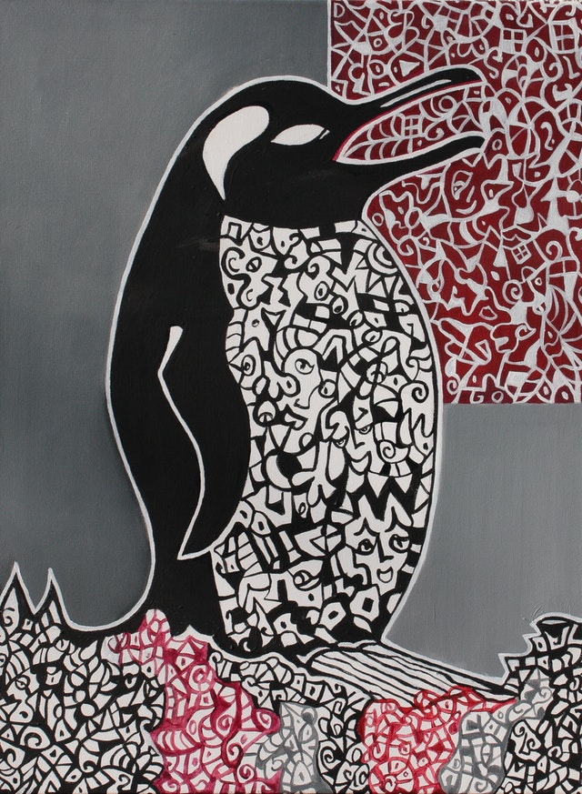 """Painting """"Penguin singing"""", painted by Elena Birkenwald in 2003"""