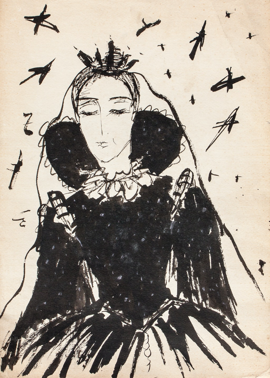 """Painting """"Queen of the night"""", painted by Elena Birkenwald in 1983"""