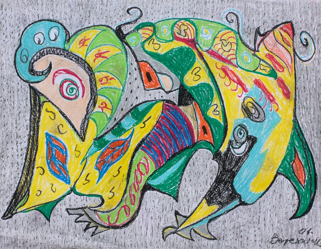 """Painting """"Reptile"""", painted by Elena Birkenwald in 2001"""