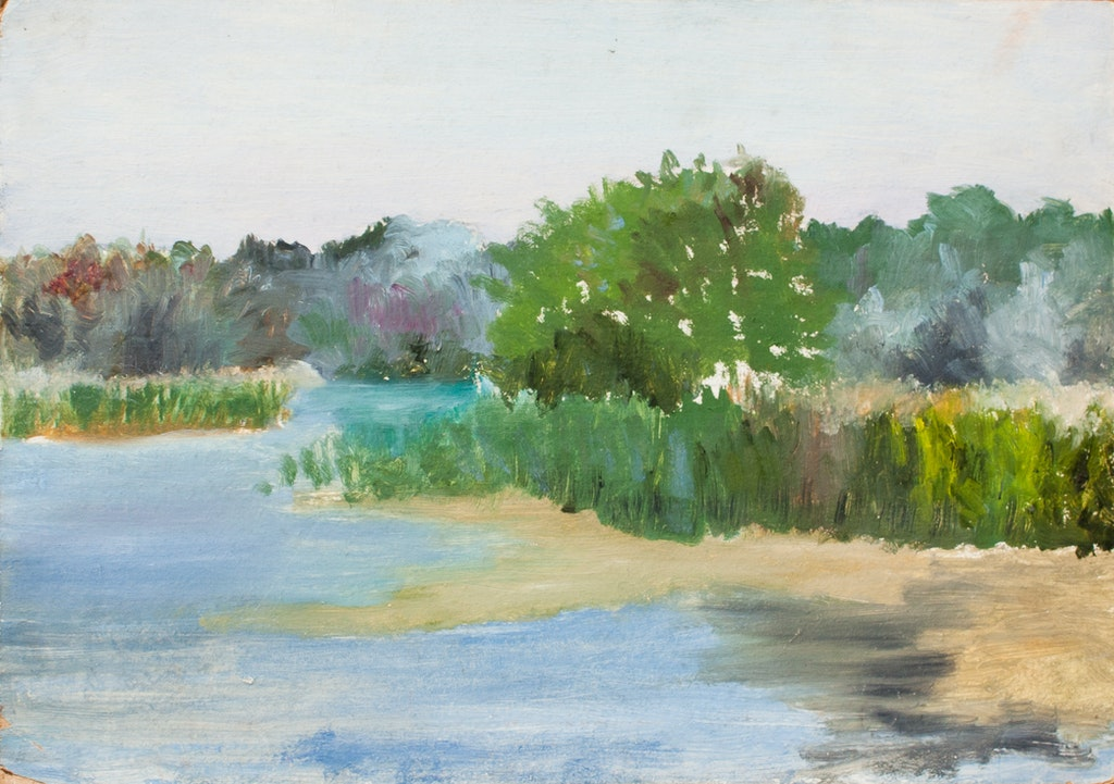 "Painting ""River bank"", painted by Elena Birkenwald in 1982"
