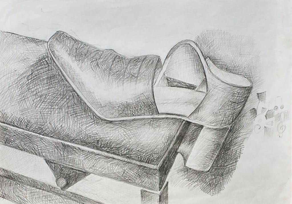 """Painting """"Shoe on piano seat"""", painted by Elena Birkenwald in 2004"""
