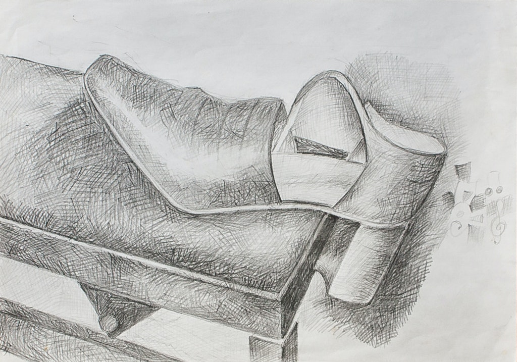 "Painting ""Shoe on piano seat"", painted by Elena Birkenwald in 2004"