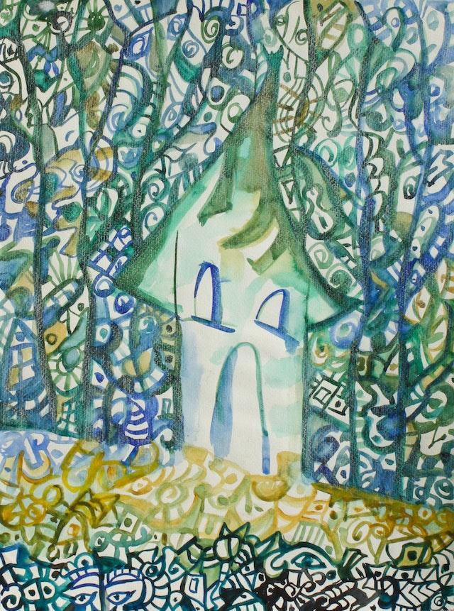 "Painting ""Sleeping house"", painted by Elena Birkenwald in 2006"
