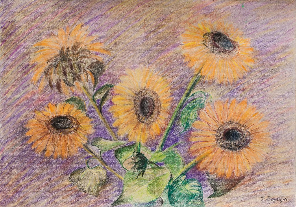 """Painting """"Sunflowers"""", painted by Elena Birkenwald in 2014"""