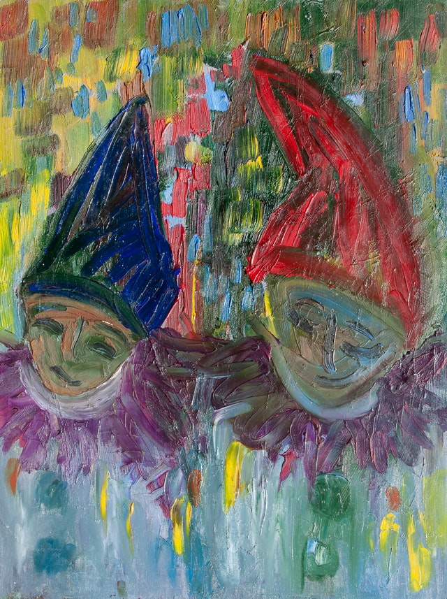 """Painting """"Two clowns"""", painted by Elena Birkenwald in 2003"""