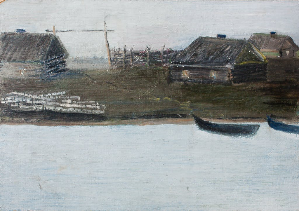 """Painting """"Village at the Volga"""", painted by Elena Birkenwald in 1983"""