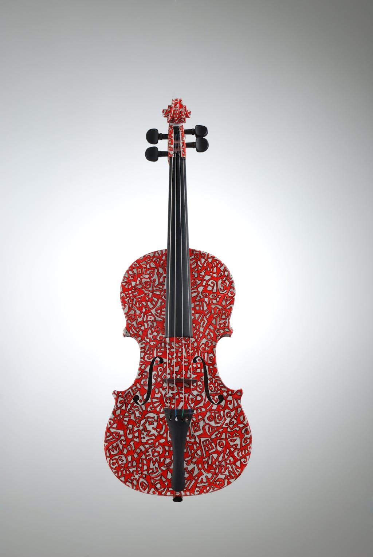 "Violin ""Mozartiane"", painted by Elena Birkenwald in 2000"