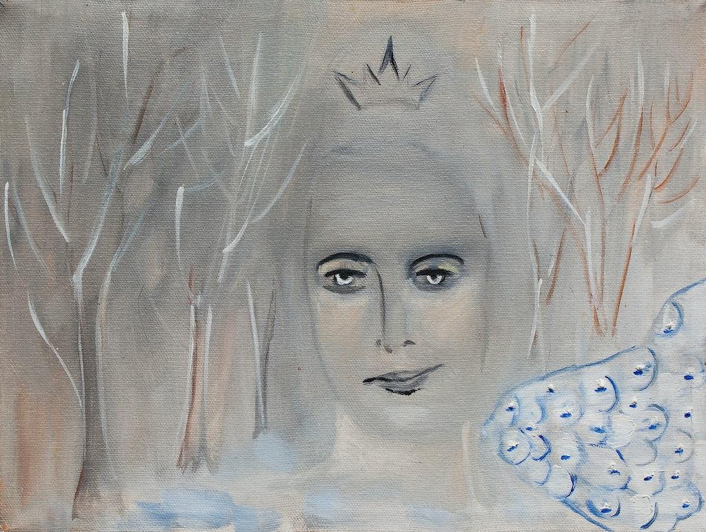 "Painting ""Winter queen"", painted by Elena Birkenwald in 1997"